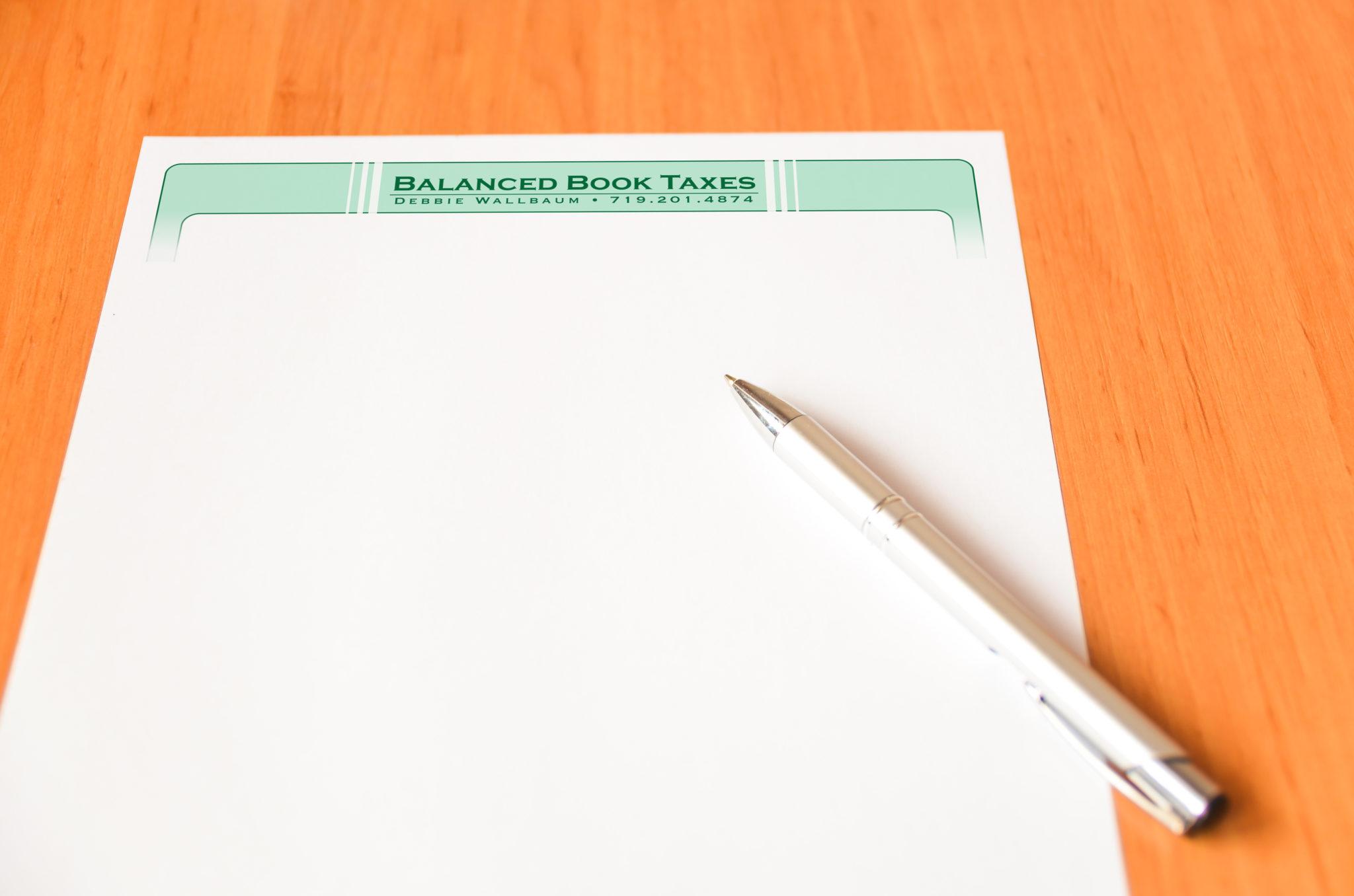 Balanced Book Taxes letterhead
