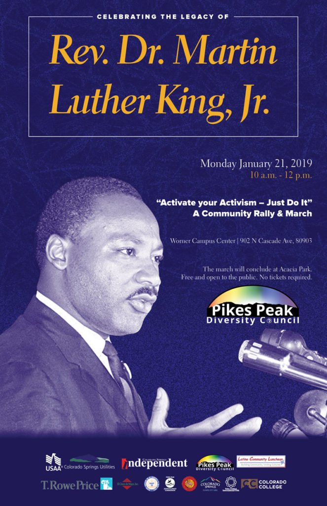 Poster created to promote the MLK Rally and March Jan. 21 2019