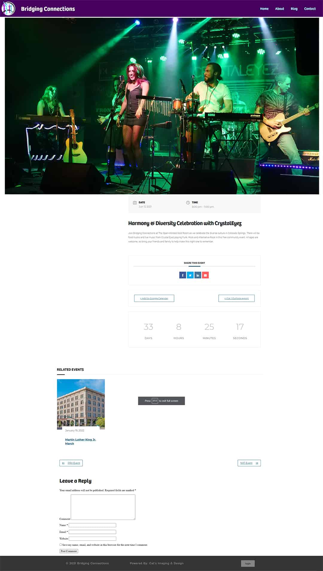 Example of seamless event integration on a website